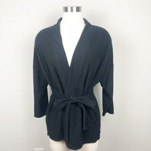 Natori Black Tie Front Short Robe Top